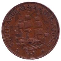 """Корабль """"Дромедарис"""". Монета 1/2 пенни. 1944 год, Южная Африка."""