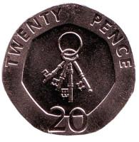 4 ключа. Монета 20 пенсов. 2010 год, Гибралтар. UNC.