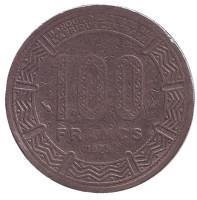Африканские антилопы. (Западные канны). Монета 100 франков. 1975 год, Чад.