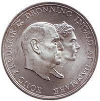 Серебряная свадьба короля Фредерика IX и королевы Ингрид. Монета 5 крон. 1960 год, Дания.