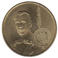 100-летие со дня рождения Яна Карского. Монета 2 злотых, 2014 год, Польша.