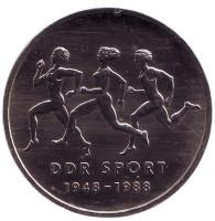 40 лет Союзу физкультуры и спорта. Монета 10 марок. 1988 год, ГДР.