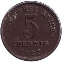 5 пфеннигов. 1922 (E) год, Германская империя.