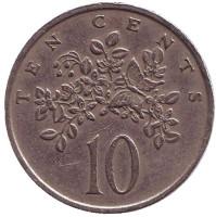Монета 10 центов. 1975 год, Ямайка.