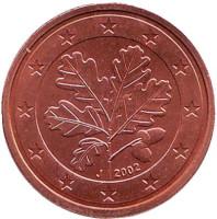 Монета 2 цента. 2002 год (J), Германия.