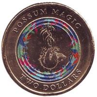 Опоссум на дереве. Монета 2 доллара. 2017 год, Австралия.