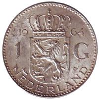 Монета 1 гульден. 1964 год, Нидерланды.