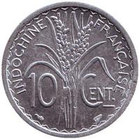 Монета 10 центов. 1945 год, Французский Индокитай. XF-aUNC. (Без отметки монетного двора)