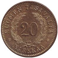 Монета 20 марок. 1931 год, Финляндия. aUNC.