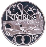 650 лет Карлову мосту. Монета 200 крон. 2007 год, Чехия. (Гурт с надписью).