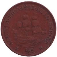 """Корабль """"Дромедарис"""". Монета 1/2 пенни, 1942 год, Южная Африка."""
