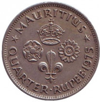 Монета 1/4 рупии. 1975 год, Маврикий.
