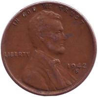 Линкольн. Монета 1 цент. 1942 год (S), США.
