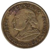 Бартоломе де лас Касас. Монета 1 сентаво. 1978 год, Гватемала.