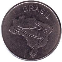 Карта Бразилии. Монета 10 крузейро. 1981 год, Бразилия.