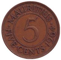 Монета 5 центов. 1964 год, Маврикий.