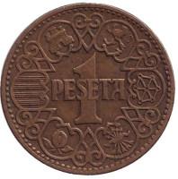 Монета 1 песета. 1944 год, Испания.