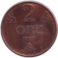 Монета 2 эре. 1947 год, Норвегия.