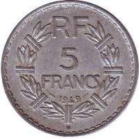 5 франков. 1949 В год, Франция.