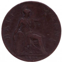 Монета 1/2 пенни. 1898 год, Великобритания.