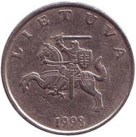 Рыцарь. Монета 1 лит. 1998 год, Литва.