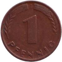 Дубовые листья. Монета 1 пфенниг. 1948 год (J), ФРГ.