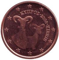 Монета 1 цент. 2008 год, Кипр.