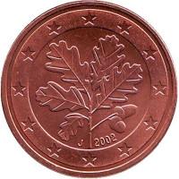 Монета 5 центов. 2002 год (J), Германия.