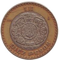 Тонатиу. Ацтекский солнечный камень. Орел. Монета 10 песо. 2006 год, Мексика.