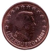 Монета 1 цент. 2018 год, Люксембург.