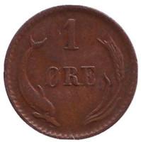 Монета 1 эре. 1887 год, Дания.