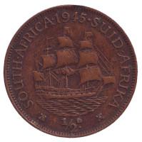 """Корабль """"Дромедарис"""". Монета 1/2 пенни, 1945 год, Южная Африка."""