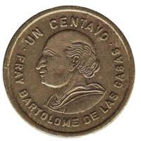 Бартоломе де лас Касас. Монета 1 сентаво. 1981 год, Гватемала.