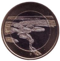 Национальный парк Пункхарью. Монета 5 евро. 2018 год, Финляндия.