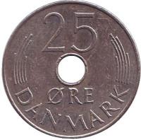 Монета 25 эре. 1973 год, Дания. S;B