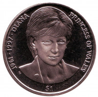 Принцесса Диана. Монета 1 доллар. 2007 год, Британские Виргинские острова.