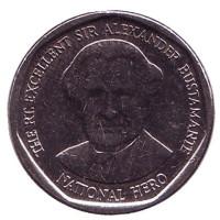 Александр Бустаманте - национальный герой Ямайки. Монета 1 доллар. 2017 год, Ямайка.