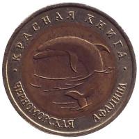 """Черноморская афалина (серия """"Красная книга""""). Монета 50 рублей, 1993 год, Россия."""
