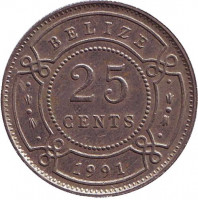 Монета 25 центов, 1991 год, Белиз.
