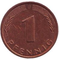 Дубовые листья. Монета 1 пфенниг. 1992 год (D), ФРГ.