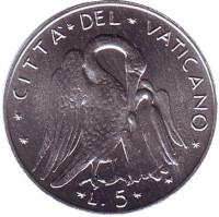 Пеликан. Монета 5 лир. 1974 год, Ватикан.