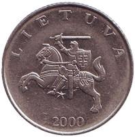 Рыцарь. Монета 1 лит. 2000 год, Литва.