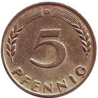Дубовые листья. Монета 5 пфеннигов. 1949 год (D), ФРГ.