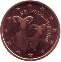 Монета 2 цента. 2008 год, Кипр.