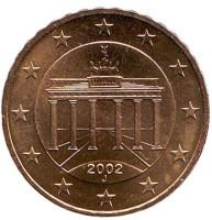 Монета 10 центов. 2002 год (J), Германия.