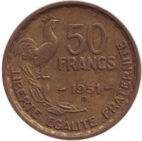 Монета 50 франков. 1951 (В) год, Франция.