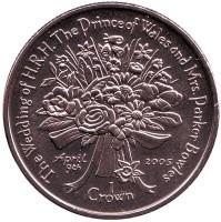 Свадьба Принца Уэльского и Камиллы Паркер-Боулз. Букет. Монета 1 крона. 2005 год, Фолклендские острова.