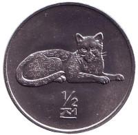 Леопард. Мир животных. Монета 1/2 чона. 2002 год, Северная Корея.