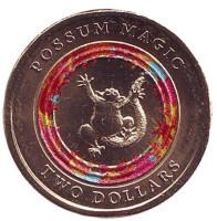 Счастливый опоссум. Монета 2 доллара. 2017 год, Австралия.