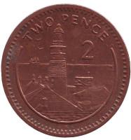 "Маяк. Монета 2 пенса. 1999 год, Гибралтар. (Отметка ""AA"")"